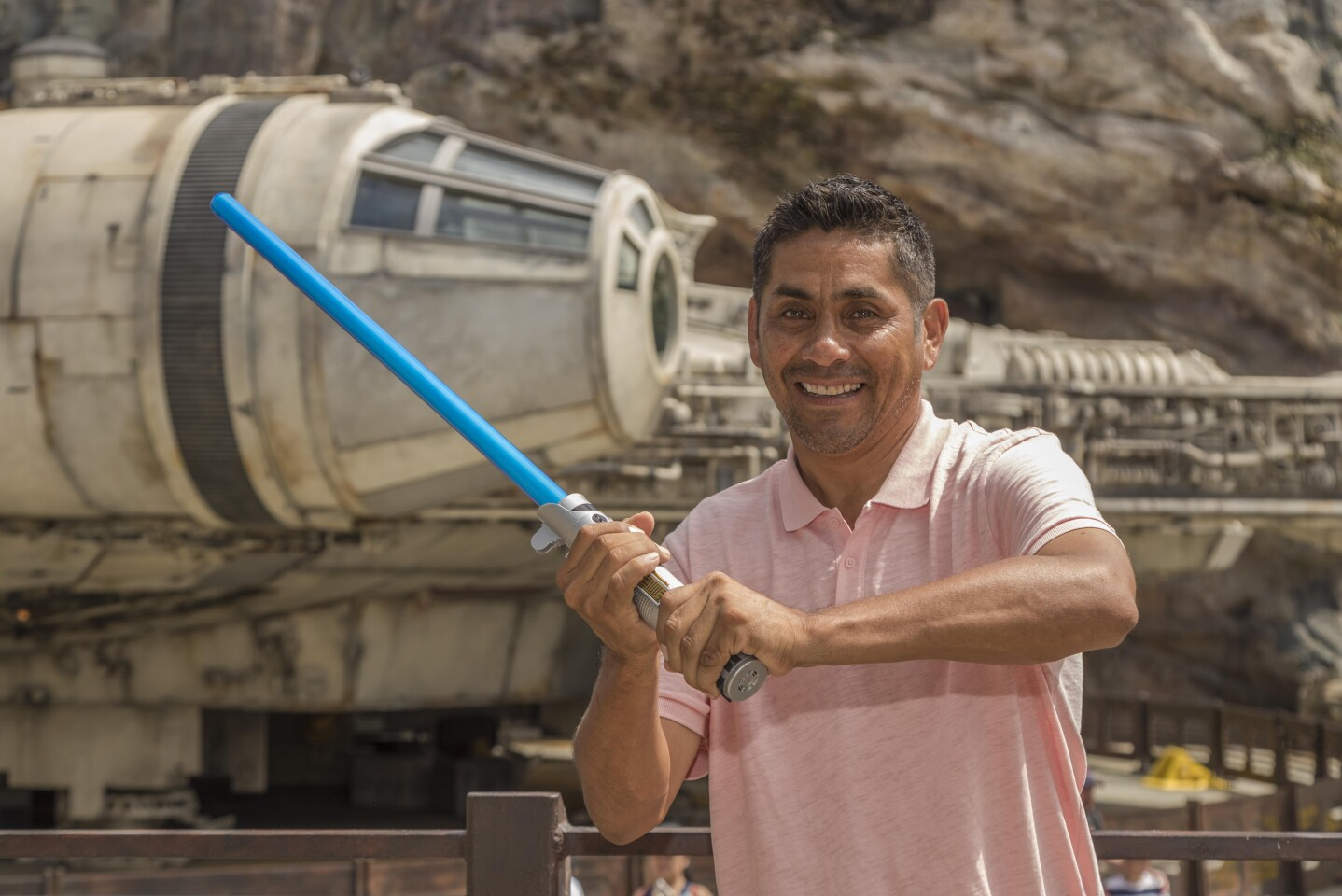 Mexican soccer legend Jorge Campos (and family) at Star Wars: Galaxy's Edge - Batuu - Black Spire Outpost - Millennium Falcon: Smugglers Run - Disneyland Park - Disneyland Resort - 7/25/19 (Joshua Sudock/Disneyland Resort)