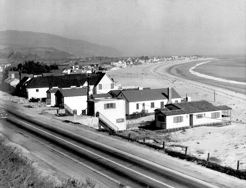 A general view in 1935 of the Malibu Beach film colony homes, valued at many thousands of dollars. Print scanned March 8, 2016.