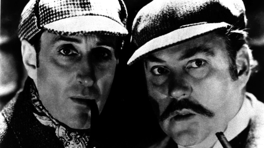 "Basil Rathbone, left, and Nigel Bruce in ""The Adventures of Sherlock Holmes."""