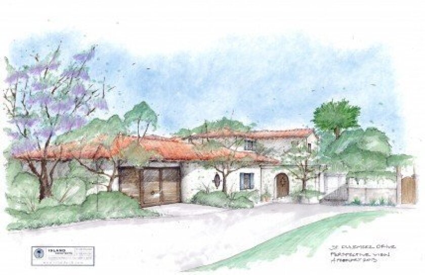 Architectural rendering of Mitt and Ann Romney's proposed La Jolla home, as it would appear from Dunemere Drive.  Courtesy Island Architects