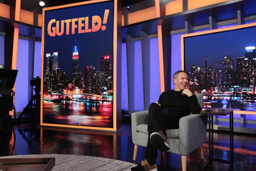 Greg Gutfeld on the set of his new Fox News late night show.