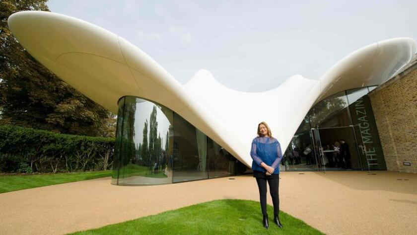 Iraqi-British architect Zaha Hadid in 2013, outside theextension she designed for the Serpentine Sackler Gallery in London.