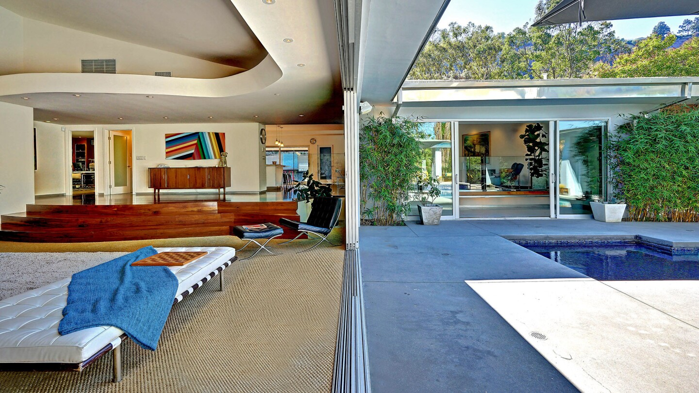 The Midcentury Modern-style home at 1687 Stone Canyon Road, Los Angeles, is listed at $4.495 million.