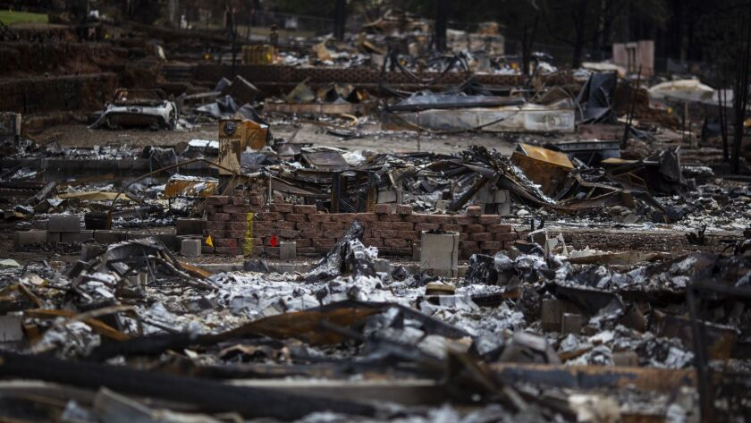 PARADISE, CALIF. - DECEMBER 12: The remains of Edgewood and Sawmill Estates community, in the Camp F