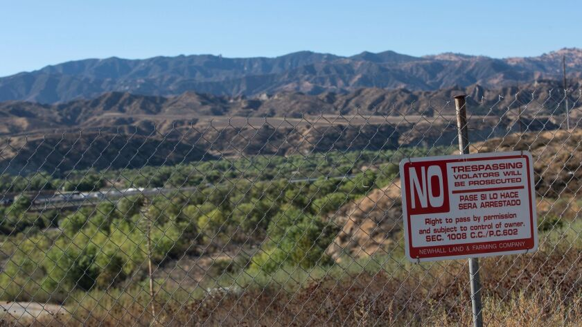 Private land near the 126 Freeway in Newhall will be developed as part of the Newhall Ranch project.