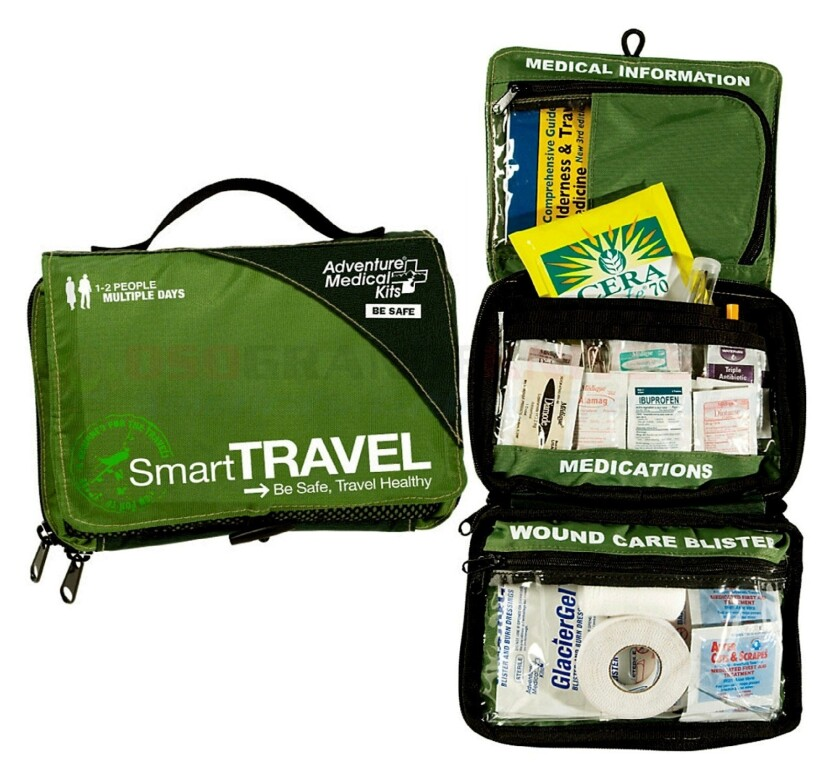 Adventure Medical Smart Travel First Aid Kit is $50 at www.adventuremedicalkits.com.