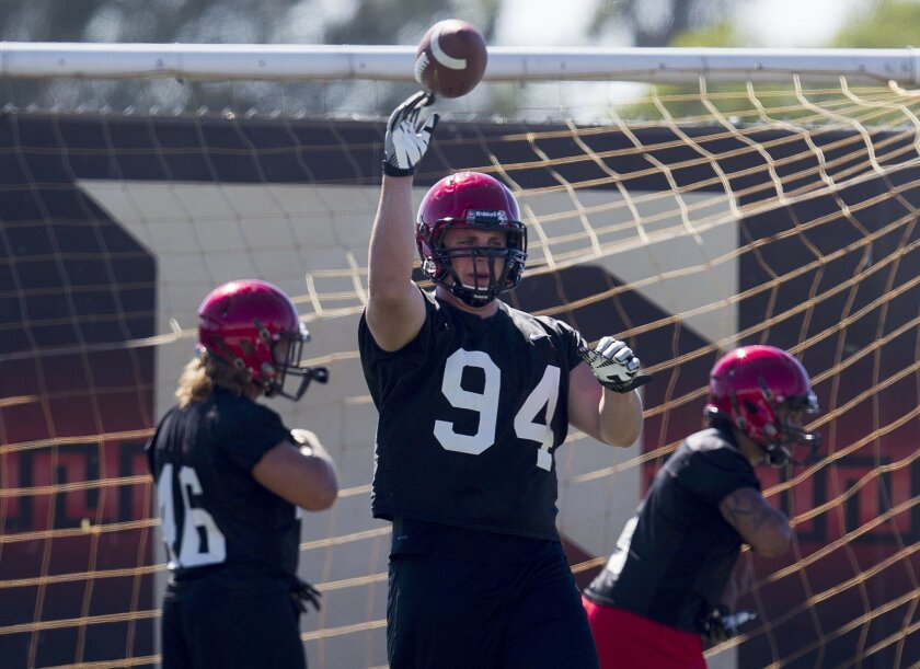 The San Diego State Football team practiced Tuesday at their practice facility. Tight End Robert Craighead.