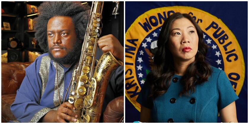 Kamasi Washington, left, and Kristina Wong