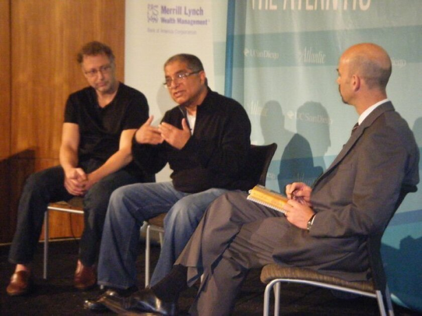 From left, Leonard Mlodinow, Deepak Chopra and James Bennet.  Joe Tash photo