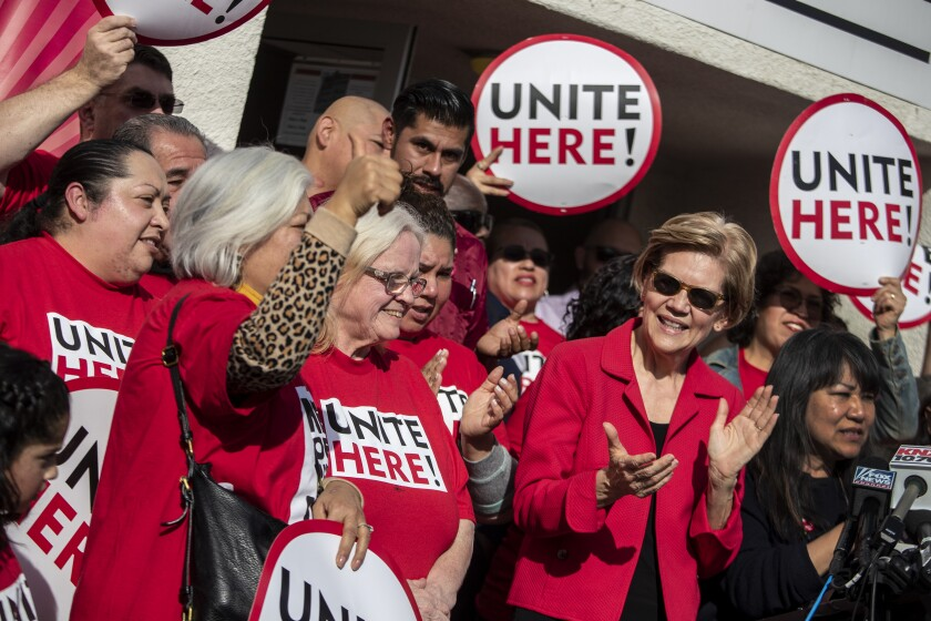 Sen. Elizabeth Warren congratulates members of the Unite Here Local 11 union on resolving a labor dispute with Sodexo at Loyola Marymount University.