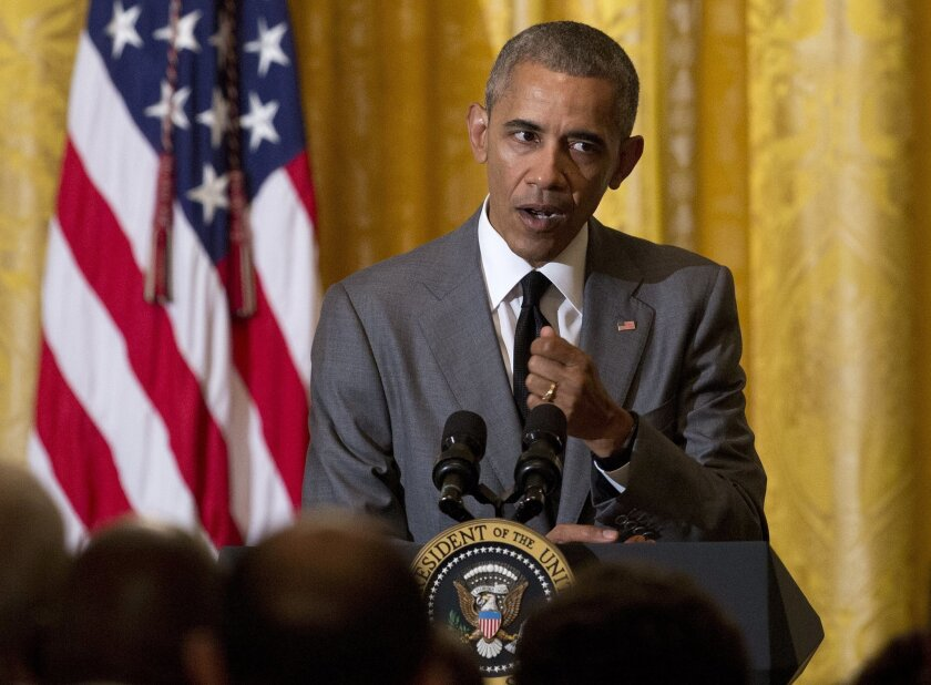 President Barack Obama speaks about the attack in Nice, France, Friday, July 15, 2016, during a Diplomatic Corps Reception in the East Room of the White House in Washington. (AP Photo/Carolyn Kaster)