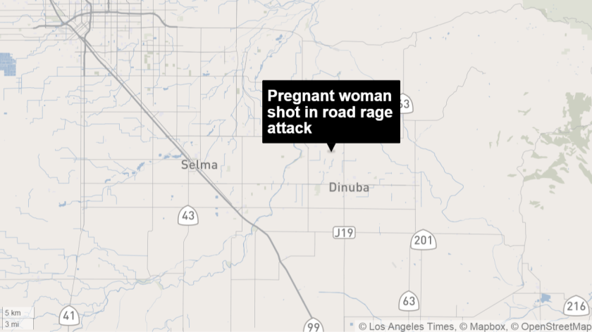 A woman who was three months pregnant was shot in the eye in Reedley on Sunday night in a road rage incident.