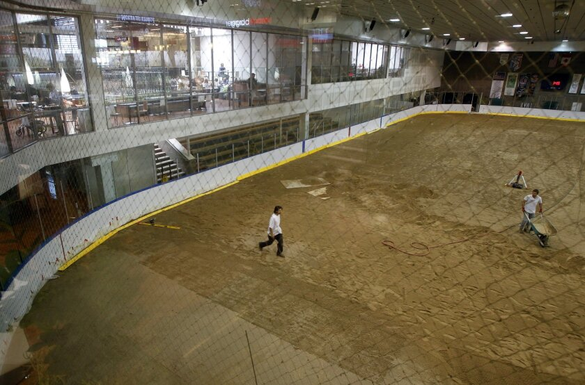 The ice rink is also being redone at Westfield UTC on Thursday in San Diego, California.