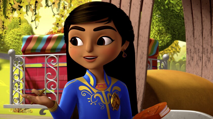 """This image released by Disney Junior shows the character Mira, voiced by Leela Ladnier, from the animated series """"Mira, Royal Detective."""" The cartoon incorporates the cultures of India and centers around Mira, a young girl who is named by the queen of fictional Jalpur as the royal detective. (Disney Junior via AP)"""