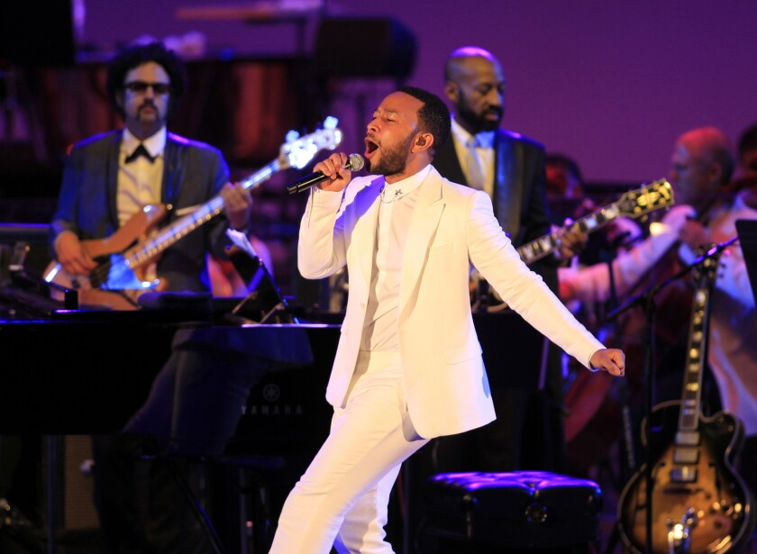 John Legend performs Wednesday night at the Hollywood Bowl in Los Angeles.