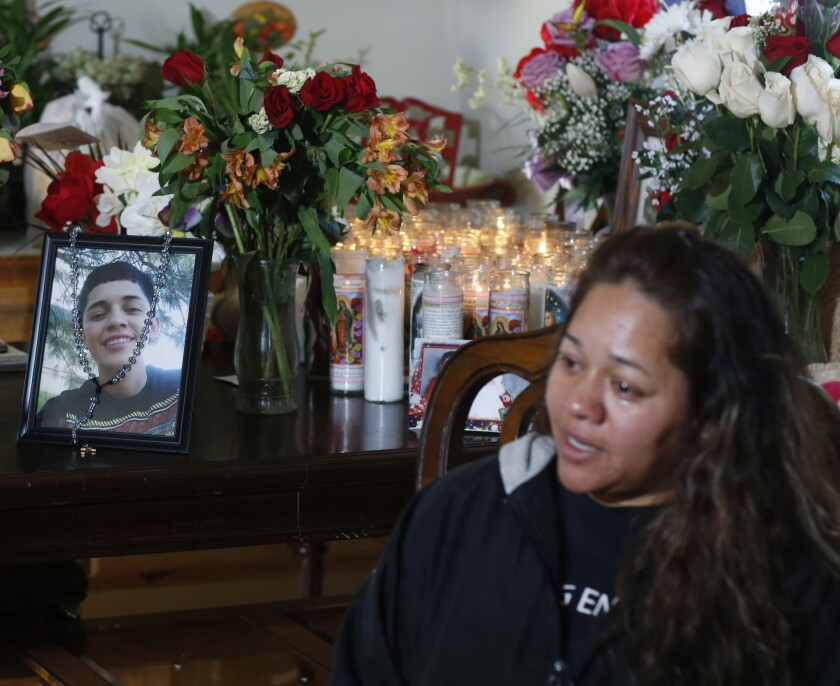 Laura Hernandez talks with reporters in her Thornton, Colo., home on Wednesday, Jan. 28, 2015, about the death of her 17-year-old daughter, Jessica.