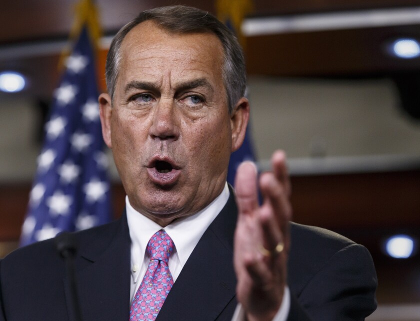 House Speaker John A. Boehner of Ohio speaking during a news conference on Capitol Hill on March 26.