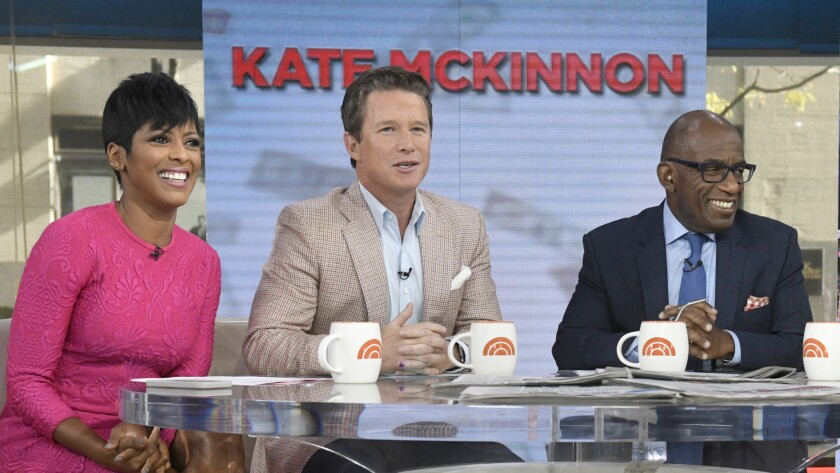 "Co-anchors Tamron Hall, Billy Bush and Al Roker in a September episode of ""Today."""