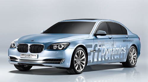BMW 7 Series ActiveHybrid Concept Overview: BMW's new twin-turbo V-8 is augmented here with an electric motor. This combination has a potential of 420 hp yet reduces fuel consumption and emissions by 15%, compared with an equivalent car running on a combustion engine alone. All on-board electronics take power from the brake energy regeneration/lithium-ion battery setup. An automatic start/stop feature helps ensure optimum efficiency. Our take: The new 7 Series sedan is a joy to drive and this system, should it ever go into production (and there's a good chance it might), is a major step toward responsible consumption for a luxury car. -- Colin Ryan More in Autos: • Up to Speed: LA Auto Show news • 2008 L.A. Auto Show: Production cars • 2008 L.A. Auto Show: Concept cars • 2008 L.A. Auto Show: Green cars • 2009 Green Car of the Year finalists • Preview: L.A. Auto Show Design Challenge