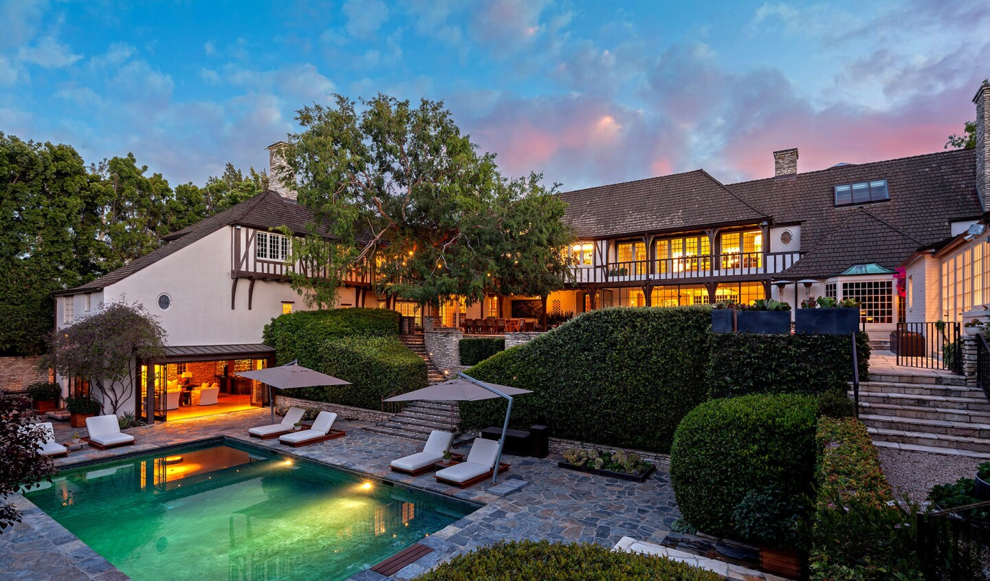 The Tudor-style home in Beverly Hills, listed at $56 million, was built in 1934 for actors Fredric March and Florence Eldridge.