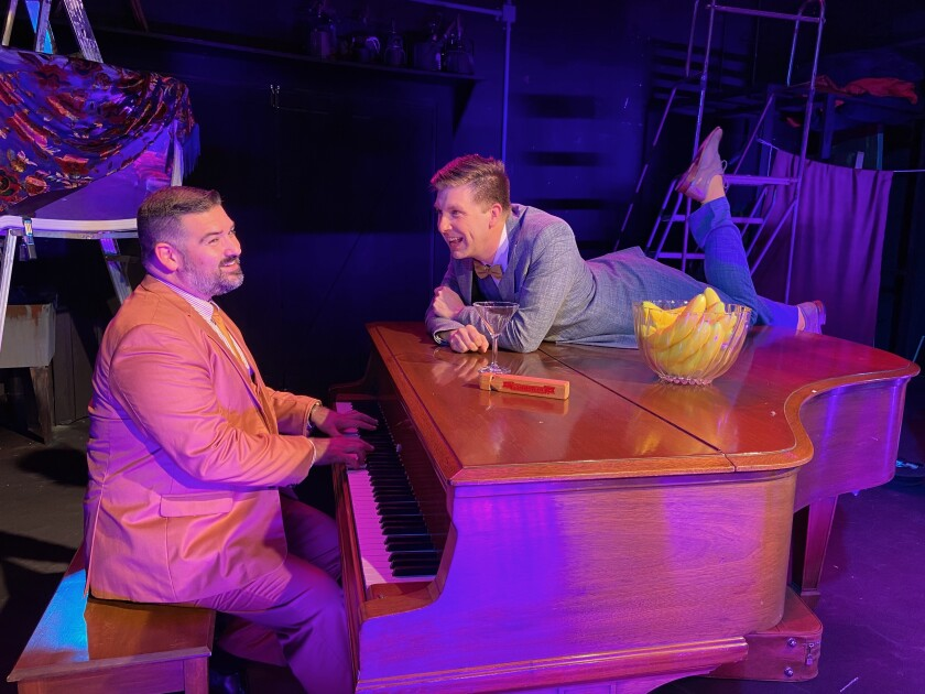 """JD Dumas (left) and Tony Houck star in New Village Arts Theatre's """"Murder for Two."""""""