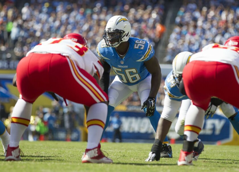 San Diego Chargers vs. Kansas City Chiefs at Qualcomm Stadium. .San Diego Chargers inside linebacker Donald Butler (56)