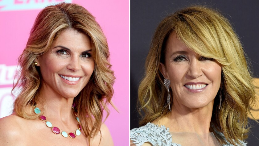 Lori Loughlin, left, and Felicity Huffma will appear in a federal court in Boston next Wednesday. (A