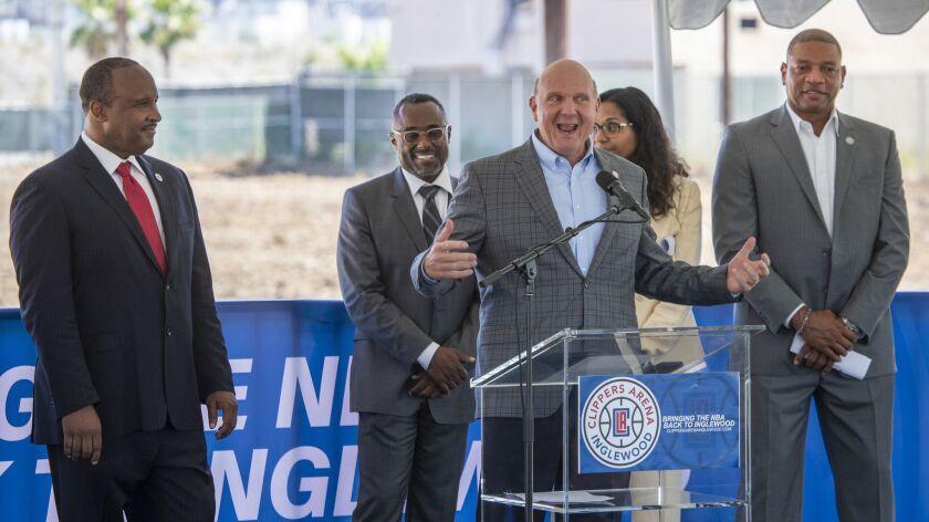 INGLEWOOD, CALIF. -- TUESDAY, JUNE 12, 2018: From left: James Butts, Inglewood Mayor, Gerard McCall