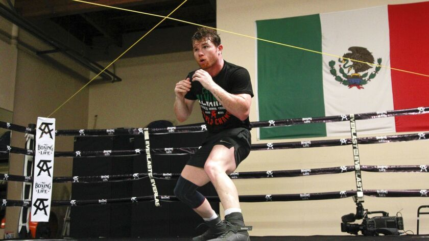 SAN DIEGO, August 3, 2018 | Boxer Canelo Alvarez during his workout at his training facility in San