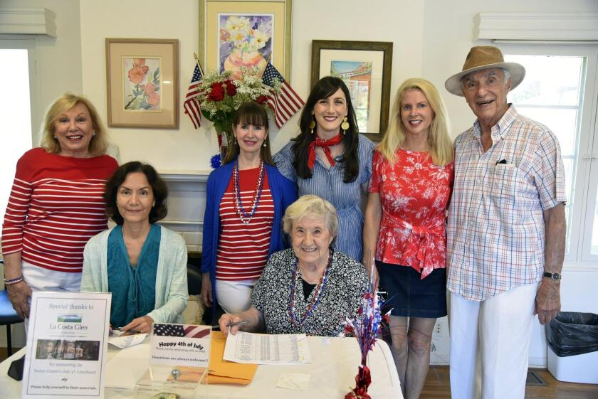 RSF Senior Center board member Colleen Sansone, Executive Director Terrie Litwin, Assistant Director Lizzy Weiss, Maria Delgado, Jere Oren. Seated: Board member Cindy Meier, volunteer Charlene Yingling