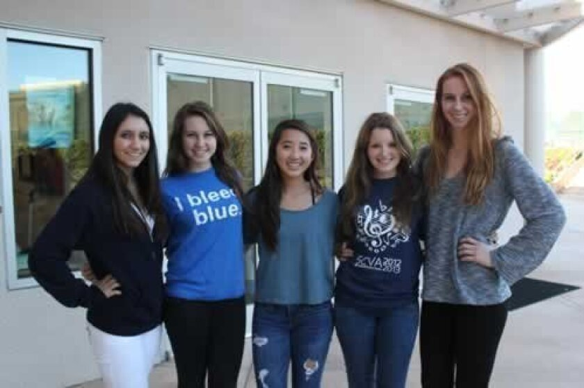 La Jolla Country Day students taking part in the Philanthropy 101 program are Demi Surnamer, Rebecca Shanks, Cori Wong, Annalisa Race and Sheridan Rice. Ashley Mackin