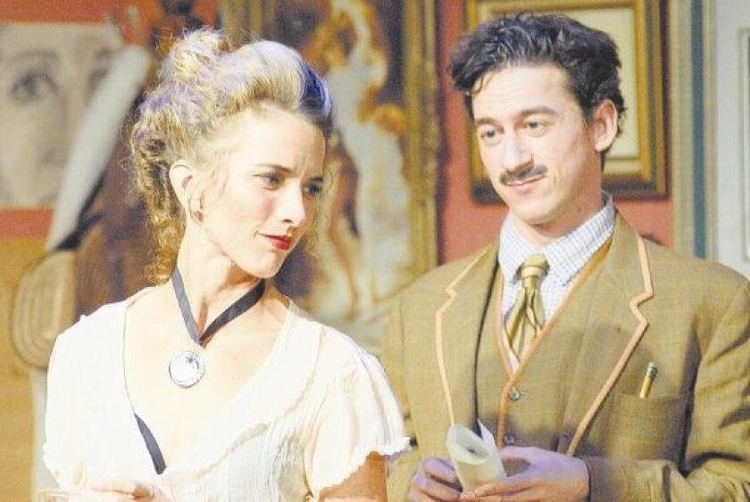 """Amanda Morrow and Tom Zohar in the New Village Arts Theatre's production of """"Picasso at the Lapin Agile."""" Adam Brick"""