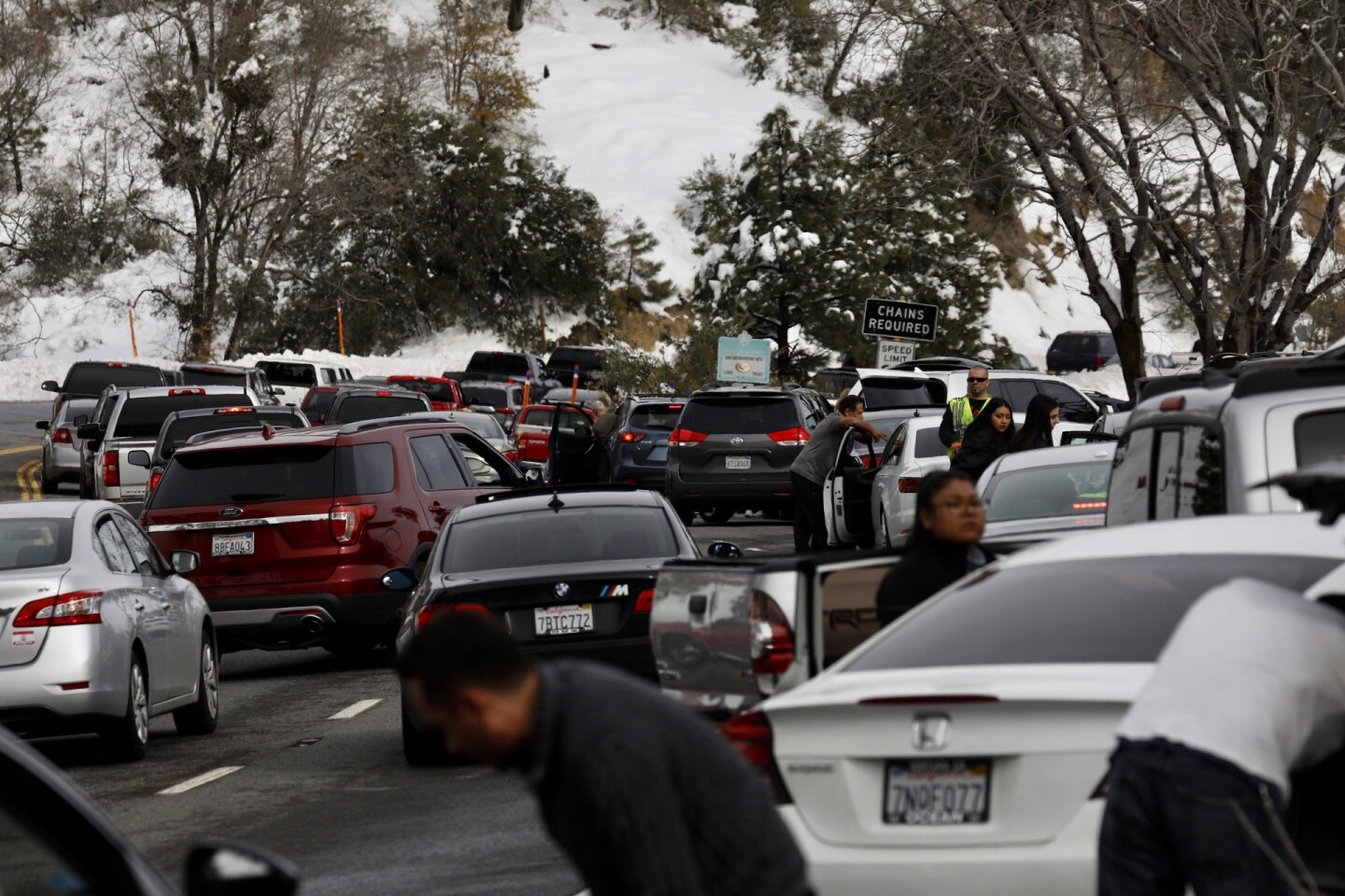 Gridlock on route 330 towards Big Bear as drivers pull over to put on chains at the CalTrans check point due to icy road conditions.