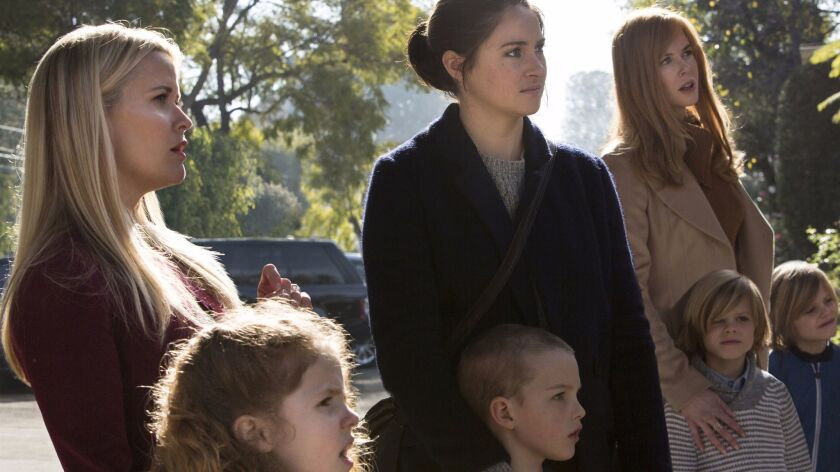L/R Reese Witherspoon, Darby Camp, Shailene Woodley, Iain Armitage, Nicole Kidman, Cameron Crovetti,