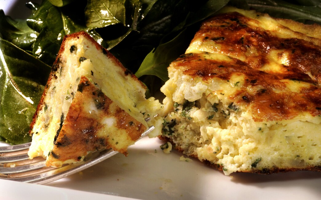 Nettle frittata with green garlic and ricotta