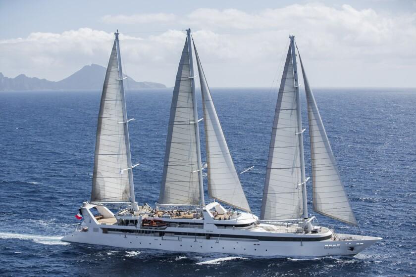 The three-sail yacht Le Ponant will sail from Miami to Havana, Cuba.