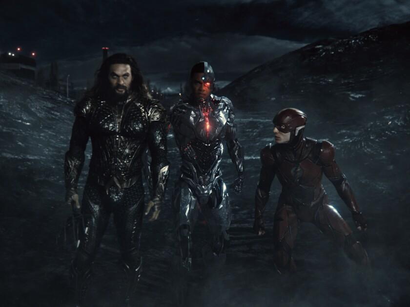 Jason Momoa as Aquaman, Ray Fisher as Cyborg and Ezra Miller as the Flash