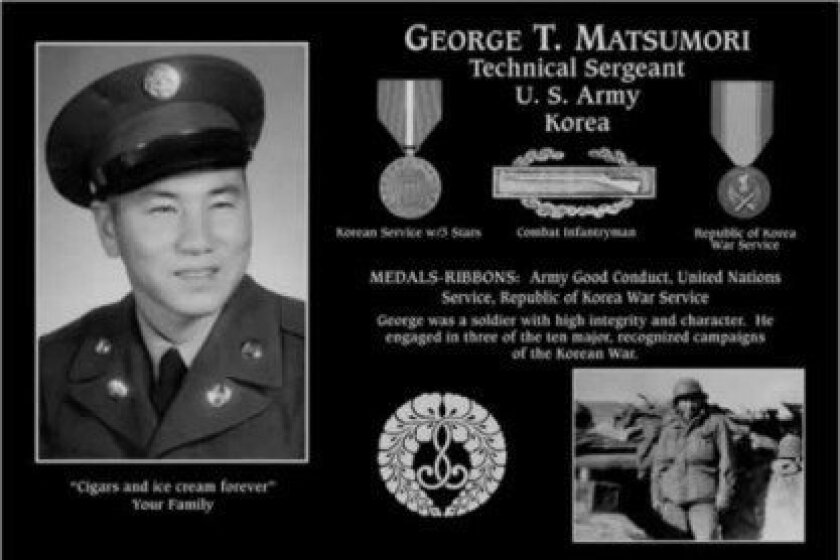 La Jolla high school junior Bryce Matsumori dedicated this plaque to his grandfather, a Buddhist and veteran of the Korean War who loved ice cream and cigars. George Matsumori's is the only Buddhist plaque at the site.