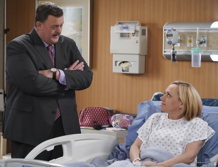 "Billy Gardell and guest star Nicole Sullivan in a new episode of ""Bob Hearts Abishola"" on CBS."