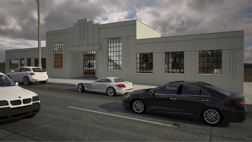 Artist's renderings of Blade 1936, a modern Italian restaurant opening in early 2019 in Oceanside's iconic Blade-Tribune building, built by architect Irving Gill in 1936. It's one of the most anticipated new San Diego County restaurant projects of 2019.