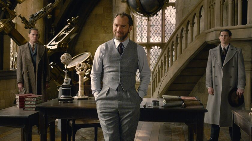 """This image released by Warner Bros. Pictures shows Jude Law in a scene from """"Fantastic Beasts: The C"""