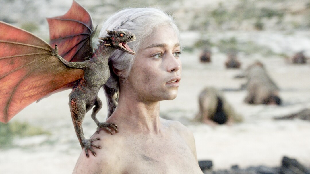 "Emilia Clarke in the season 1 finale ""Fire and Blood"" from ""Game of Thrones."""