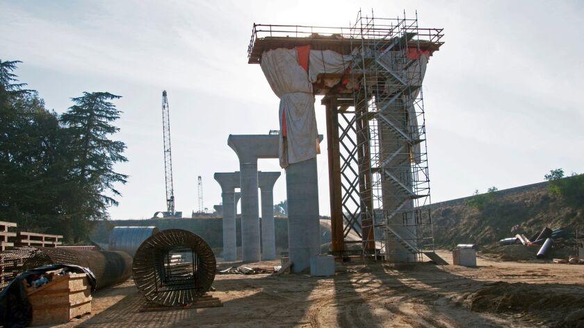 Pier cap construction at the San Joaquin River Viaduct on December 19, 2017.The California rail aut