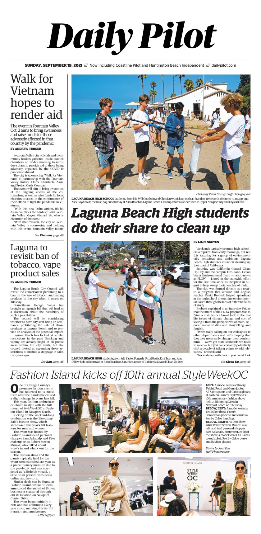 Front page of Daily Pilot e-newspaper for Sunday, Sept. 19, 2021.