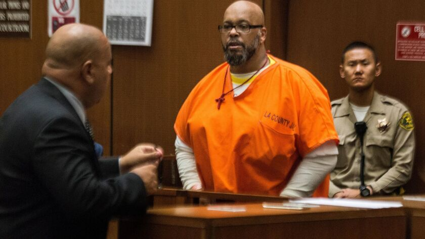 """Marion """"Suge"""" Knight appears in Los Angeles Superior Court earlier this month with attorney Matthew Fletcher."""