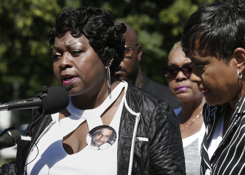 Valerie Castile, the mother of Philando Castile, takes questions during a news conference in St. Paul, Minn. in 2016.