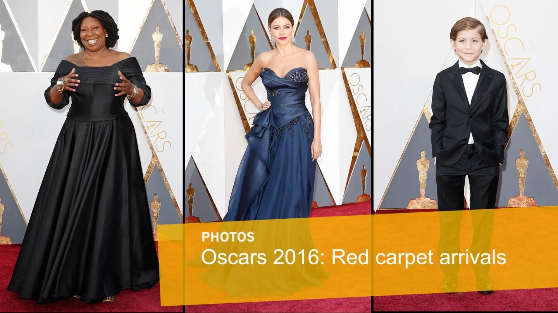 From left, Whoopi Goldberg, Sofia Vergara and Jacob Tremblay arrive at the 88th Academy Awards.