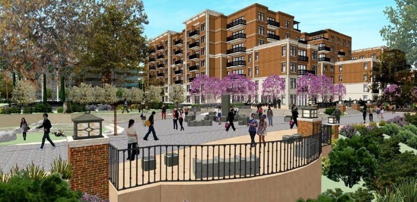 A promenade will parallel the San Diego River at the new 200-unit apartment complex, seen in this rendering north of the present Union-Tribune office building.