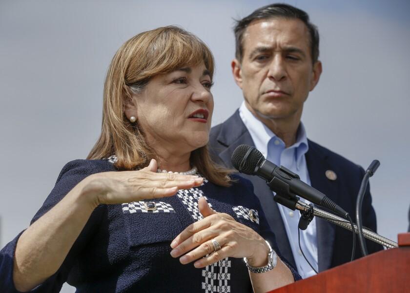 U.S. Reps. Loretta Sanchez (D-Orange) and Darrell Issa (R-Vista)
