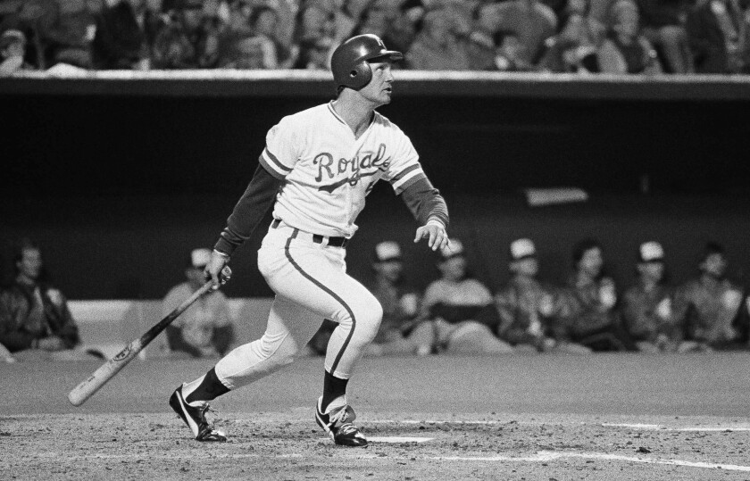 Kansas City Royals batter George Brett watches his second home run of the night.